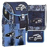 Polizei Police Schulranzen Schulmappe Schultasche Schulrucksack Ranzen Set mit Federtasche Sportbeutel Heftbox und Regenschutz