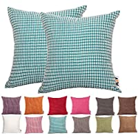 PLANDV Funda de Almohada monocromática Big Corn 2, Disponible en 19 Colores y 10 Tallas (55x55cm,Skyblue)