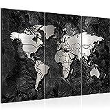 Bilder Weltkarte World Map Wandbild 120 x 80 cm Vlies - Leinwand Bild XXL Format Wandbilder Wohnzimmer Wohnung Deko Kunstdrucke Schwarz Weiß 3 Teilig - MADE IN GERMANY - Fertig zum Aufhängen 107331a