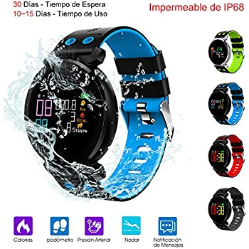 Smart Watch, Reloj Inteligente de Pulsera Mu?eca Impermeable de IP68 Deportivo Bluetooth 4.0 Uso de 10-15 D¨ªas con Pantalla HD Colorida y Correa ...