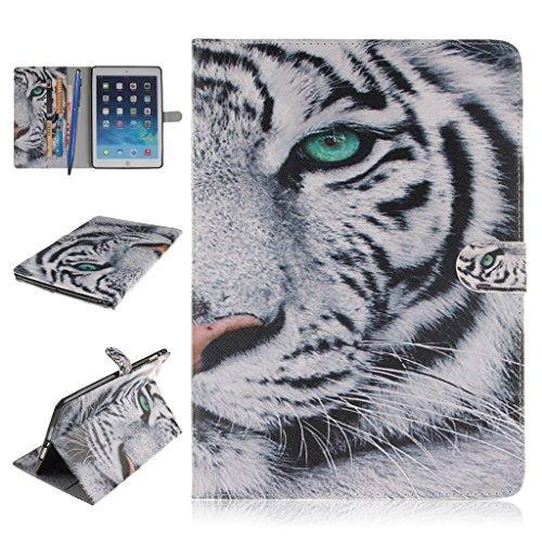 iPad Mini 1/2/3 Funda,Careynoce Atrapasueños León Tigre Pattern Flip PU Cuero Carcasas Funda Case Cover para Apple iPad Mini 1 iPad Mini 2 iPad Mini 3 (7.9 pulgada) - Blanco Tigre