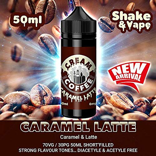 Vape Street E-Liquid 3 x 100ml (300ml) Coffee Cream Latte Liquid | Strong E-Liquid Flavour Made from Premium UK Vape Ingredients | Vape Juice Made for Electronic Cigarette & E Shisha
