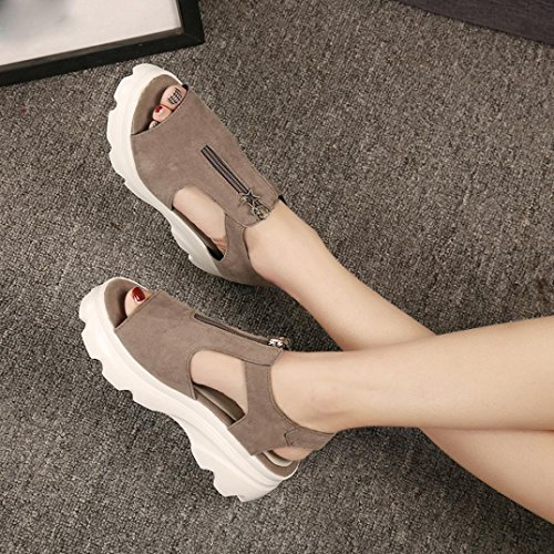 Damen Super Leicht Dicke Sandalen, Kaiki Frauen Fisch Mund Schuhe Sommer Sandalen Casual Platform Wedges Sandalen Schuhe Khaki