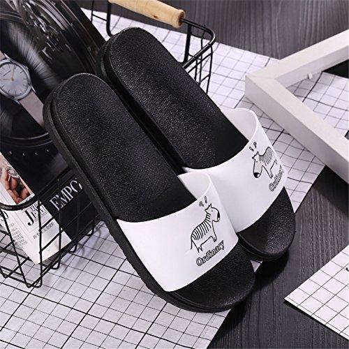 antidérapantes Impression Zebra Hommes Fashion Sandales Auspicious beginning confortables et Blanc Summer Femmes Slipper wIq4PXZg