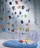 QUALITY Transparent Fish Clear Plastic Shower Curtain, 180 x 200 cm, Blue/ Orange/ Yellow/ Black/ Green - Long Length