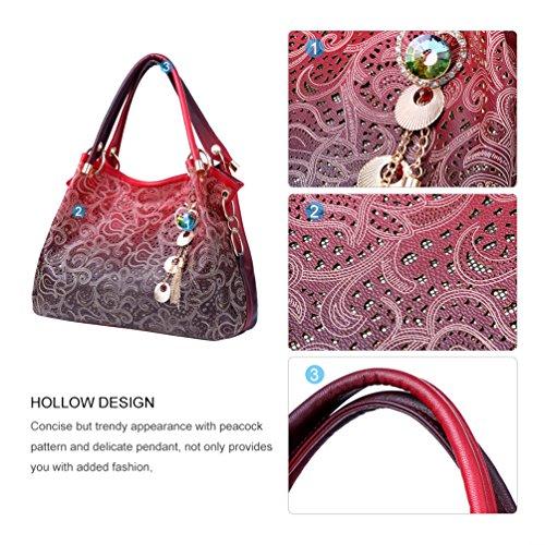 Vbiger Borsa Tote in pelle PU Borsa a tracolla alla moda Borsetta casual per donne(Rosso) Rosso