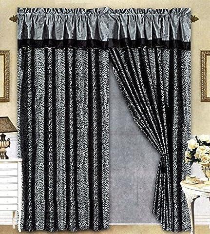 Black/Grey Flocking Leopard Satin Window Curtain Drape Set+Sheer Liner+Valance by AHF