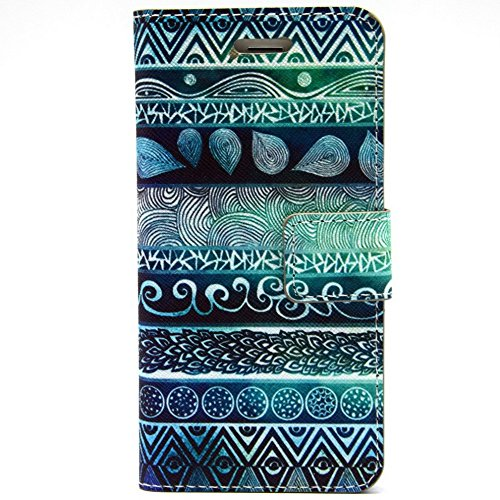 Più colorate Ancerson in pelle PU Flip Custodia Cover per Apple iPhone 6 Plus 5,5 pollici inch in pittura ad olio Stil Colorful Painting Flip Case Custodia in similpelle custodia per cellulare con sup Seeblau