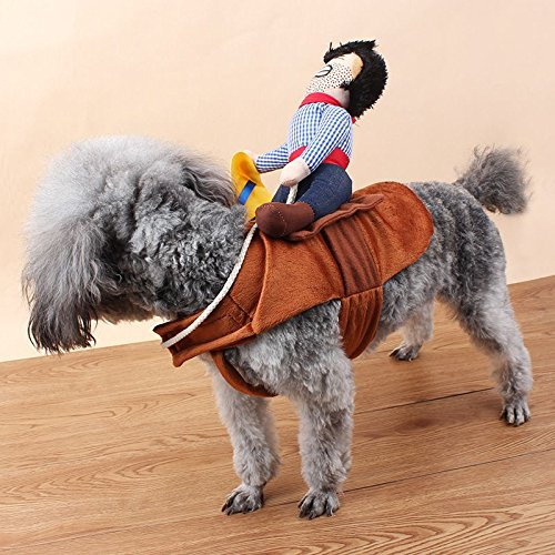 VANKER Fantasía divertido perro de mascota de peluche lindos trajes Novel montar a caballo del vaquero Knight ropa de abrigo--M