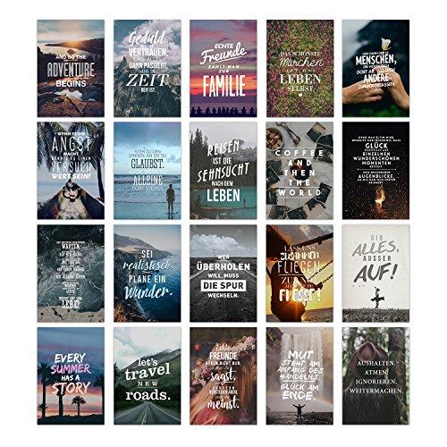 20er Postkarten Set LEBEN mit Sprüchen von VISUAL STATEMENTS® / Hochwertige Spruchkarten / 350g Bilderdruckkarton / 12 x 17,5 cm (XXL) / 20 verschiedene Motive / Set LEBEN