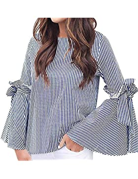 NPRADLA Moda mujer rayas blusa camisa Verano ropa casual manchas de manga