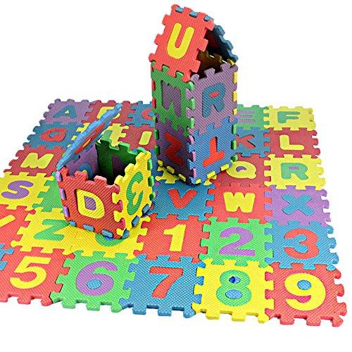 Alphabet Weiche Badteppich Badvorleger Set, 36-teilig weich Kinder EVA Schaum Spiel Nr. 09& Buchstaben A-Z Baby Aktivität Puzzle playmats-Schutz von Flur