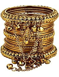 Ayeshu Metal Golden Bangles Set