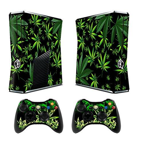 Xbox 360 Slim Designfolie Sticker Skin - Vinyl Aufkleber Schutzfolie für Xbox 360 Slim Konsole mit 2 Aufkleber für Xbox 360 Controller Weeds Black