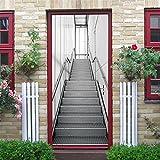 GWELL 3D Treppen Türtapete Selbstklebend Wasserdicht PVC 77x200cm Abnehmbar TürPoster Fototapete Türaufkleber Wandbild für Tür, Wohnzimmer, Schlafzimmer, Küche und Bad Muster-D