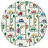 ZMYGH Round Rug Mat Carpet,Cars,Vibrant Cute Children Drawing Cars Driving on The Roads Traffic Urban Themed Design,Multicolor,Flannel Microfiber Non-Slip Soft Absorbent,for Kitchen Floor Bathroom