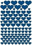 das-label Aufkleber | 106 HERZEN dunkelblau | INDOOR matt | unterschiedliche Größen | Valentinstag | Muttertag | Scrapbook | Geburtstag | Geschenke | zum bekleben von Autos | Tüten | Geschenkkartons | selbstklebende Markierungspunkte