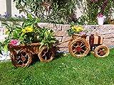 Korb-Traktor+Anhänger braun hell 60 + 60 cm XL, Korbgeflecht, WETTERFEST**, witzige Gartendeko 100% NATUR, ideal als Pflanzkasten, Blumenkasten, Pflanzhilfe, Pflanzcontainer, Pflanztröge, Pflanzschale, Rattan, Weidenkorb, Pflanzkorb, Blumentöpfe, Holzschubkarre, Pflanztrog, Pflanzgefäß, Pflanzschale, Blumentopf, Pflanzkasten, Übertopf, Übertöpfe, , Holzhaus Pflanzgefäß, Pflanztöpfe Pflanzkübel