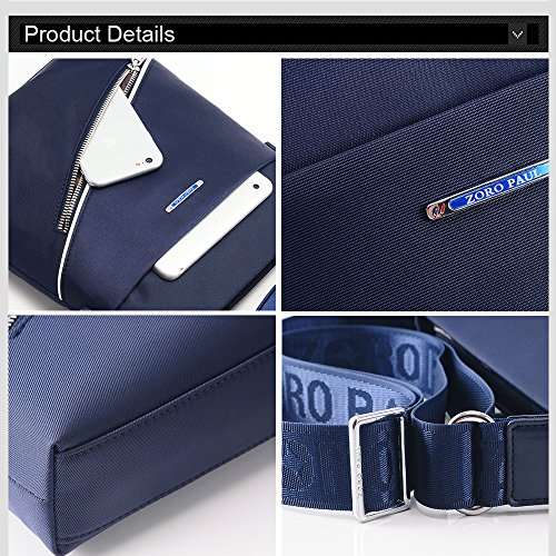 Regenbogen-vertikale dünne Querbody-Beutel-Schulter-Beutel für Männer Oxford-Textil-wasserdichte Geschäfts-Handtasche-Jugendliche Art- und Weisehandtasche mit Mappe Blau