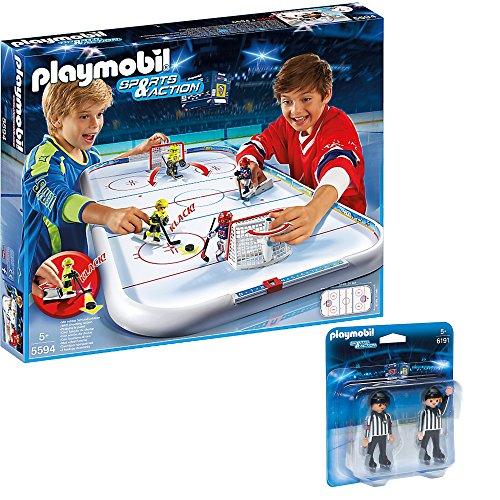 PLAYMOBIL Sports & Action Eishockey 2er Set 5594 6191 Eishockey-Arena + Schiedsrichter