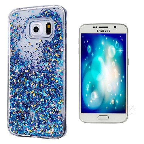 Preisvergleich Produktbild Galaxy S6 Hülle Clear,Galaxy S6 Hülle Glitzer,Galaxy S6 Hülle Transparent,Galaxy S6 Hülle Gold,EMAXELERS Schutzhülle Für Samsung Galaxy S6 Hülle Transparent Hardcase,Samsung Galaxy S6 Hülle 3D Kreative Liquid Bling Hülle Caser,Galaxy S6 Hülle Blumen,Galaxy S6 Hülle Liquid Flüssige Fließend Wasser Glitter Glitzer Glanz Sparkle Klar Hart Plastik Tasche Handytasche Hülle Schale Etui Für Samsung Galaxy S6,Blue Diamonds