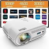 Mini-projector, ondersteuning 1080P Full HD-videoprojector, draagbare projector, 4000 lumen/200 scherm/contrast 3000:1 theate
