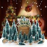 LouisaYork Miniatur-Weihnachtsbaum, Mini-Tischbaum, 34 Stück, Mini-Sisal, Schnee, Frost, Baum, Mikrolandschaft für Weihnachten, Basteln, Tischdekoration - 7
