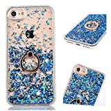 ZCRO (Nicht Für 6/6S) Hülle für iPhone 6 Plus/iPhone 6S Plus, Handyhülle Case Hülle Glitzer Flüssig Transparent Silikon Cover mit Ring Halterung Ständer für iPhone 6 Plus/iPhone 6S Plus (Blau)