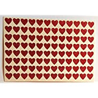 96 Small Glittery Red HEART Stickers 7 mm