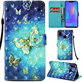 Ooboom® Xiaomi Redmi Note 5 Pro/Mi A2 Hülle 3D Flip PU Leder Schutzhülle Stand Handy Tasche Brieftasche Wallet Case Cover für Xiaomi Redmi Note 5 Pro/Mi A2 - Schmetterling Gold