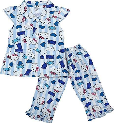 Nauti Kidz Baby Girls' Cotton Night Suit Set (NK053PCWHKITTYBL-6-12Months, Multi-Coloured, 6-12Months)