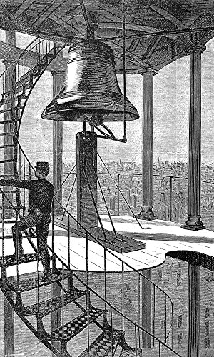 New York City: Bell Tower. /Nthe Bell In The Watchtower at The Corner of Spring and Varick Streets New York City. Wood Engraving 1874 After Winslow Homer. Kunstdruck (45,72 x 60,96 cm)