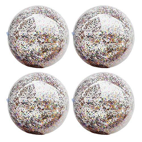 asserball 4er Set, Transparenter Pailletten Glitter-Wasserball 16 Zoll/24 Zoll Für Sommer Strand Pool Party Supplies, Strand Spielzeug Für Kinder Erwachsene ()