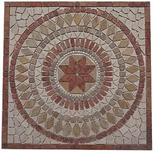 pietra naturale marmo rosone 60/x 60/cm Wind Rose mosaico einleger Grigio Crema Bianco EM2