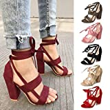 Clearance Sale!Womens Sandals OverDose Ladies Ankle High Heels Block Party Open Toe Shoes