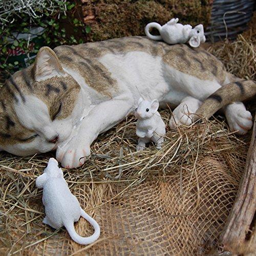 schlafende Katze mit 3 Mäusen Gartenfigur Dekofigur täuschend echt Katz und Maus