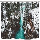 GoHEBE Canyon Duschvorhang, Schnee-, Tannenbaum-, Fluss, schimmelresistent, Duschvorhang, wasserdicht, Polyester, mit Haken, 180x 160cm