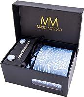 Massi Morino ® Set Cravatta + Gemelli + Fazzoletto + Fermacravatta - Cucita a Mano in MicroFibra