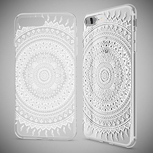 iPhone 8 Plus / 7 Plus Hülle Handyhülle von NICA, Slim Silikon Motiv Case Crystal Schutz Dünn Durchsichtig, Etui Back-Cover Transparent Bumper für Apple iPhone 7+ / 8+ - Transparent Mandala Weiß