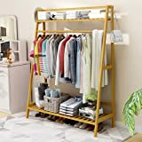 EKRON Bamboo Coat Stand Rack Garment Hanger with Top & Bottom Shelves Clothes Hanging Rail Household Storage Organizer Wooden