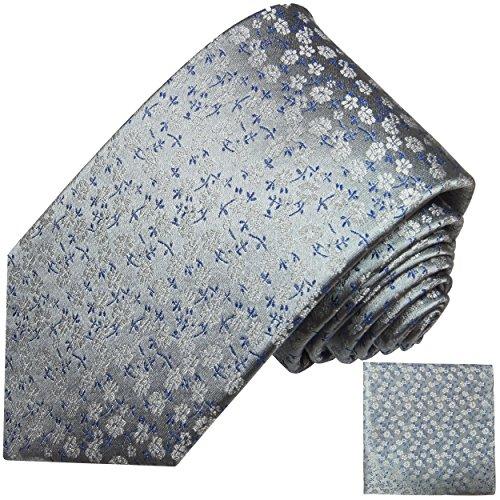 Grau blaues Krawatten Set 2tlg floral Seidenkrawatte + Einstecktuch Paul Malone (Blau Seidenkrawatten Grau)