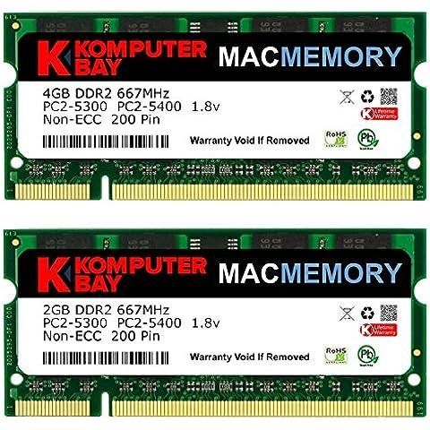 Komputerbay MACMEMORY - Kit de memoria de 6 GB (módulo de 4GB y 2GB, PC2-5300, 667 MHz, DDR2, SODIMM) para MacBook Pro (principios de 2008, 2,1 GHz/2,4 GHz/2,5 GHz/2,6
