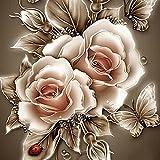 5D Stickerei Gemälde Strass eingefügt DIY Diamant Malerei Kreuzstich 3D Mit Steinen Katze Full Vollbild Diamond Groß Bild Kinder Rose Blumen (25*25cm, E)