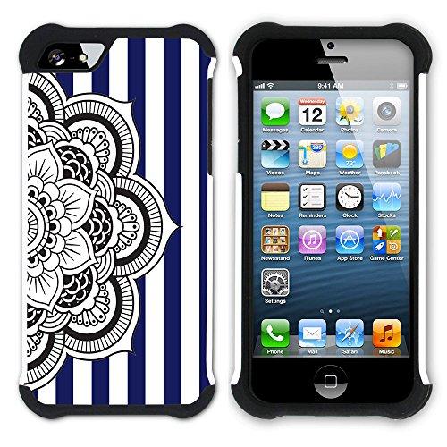 Graphic4You Mandala Blume Streifenmuster (Wasserblau) Hart + Weiche Kratzfeste Hülle Case Schale Tasche Schutzhülle für Apple iPhone SE / 5 / 5S Marineblau