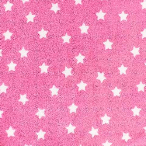 Tissu enfantin Kiyohara - Doudou polaire motif Etoile Rose x10cm