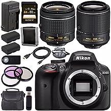 Nikon D3400 DSLR Camera AF-P 18-55mm VR Lens (Black) + Nikon 55-200mm F/4-5.6G ED VR II Lens + EN-EL14 Replacement Lithium Ion Battery + External Rapid Charger + Carrying Case Bundle