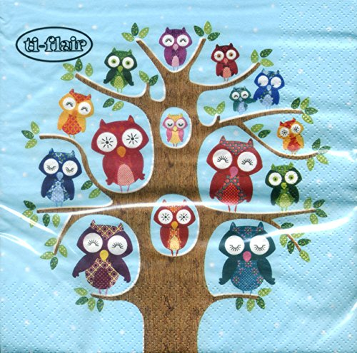 ti-flair - Servietten - Owl Family Tree blue - Eule / Eulen / - Eule Baum In Halloween Einem