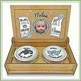 Baby Erinnerungsbox Holz | Personalisiert mit Foto, Namen & Daten | Geschenk-Set erste Locke erster Zahn | Milchzahndose | erste Locke Set (Blau)