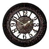 Foxtop 30 cm Fácil lectura Silencioso See-Through retro reloj de pared para el comedor Salón Cocina Decoración de la pared de casa - Negro