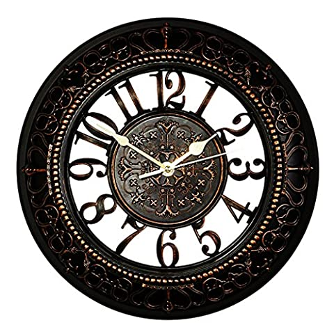 Black Vintage Wall Clock, Foxtop 12 Inch Easy Reading Silent